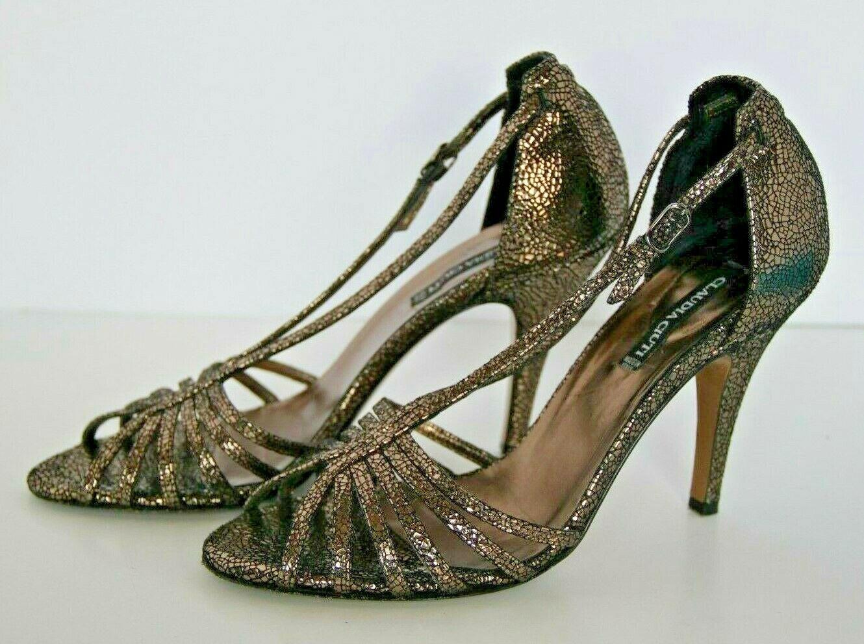 CLAUDIA CIUTI Size 7.5 Metallic Bronze Open Toe Y-Strap Y-Strap Y-Strap Heels Sandals NEW  276 c934da