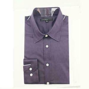 Mens-morado-ciruela-Smart-Casual-camisa-de-mangas-largas-Tamano-M-L-XL-Nuevo