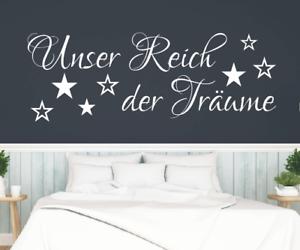 X7046-Spruch-Unser-Reich-der-Traeume-Schlafzimmer-Sticker-Wandbild-Wandaufkleber
