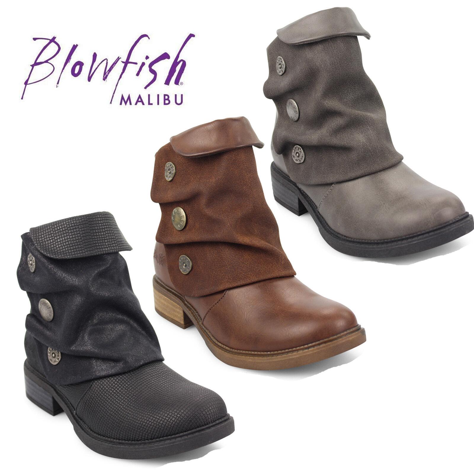 Blowfish Malibu Ladies Vynn Ankle Boots Button Detail Zip Up Fashion shoes UK3-8