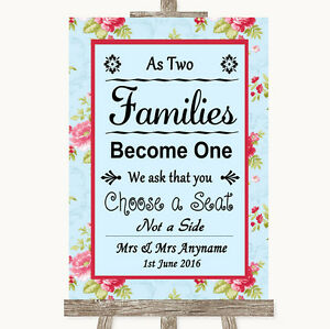 Poster Shabby Chic No Seating Plan Personalised Wedding Sign