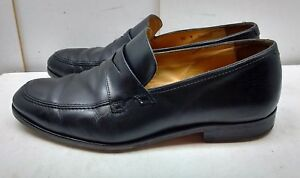 b28594eb3e6 Saks Fifth Avenue Italy Men Black Leather Penny Loafer Apron Toe ...