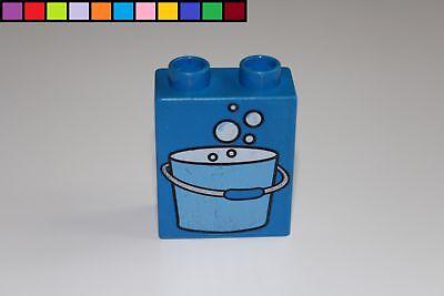 Motivstein Police Polizei blau Baustein 1x2 2er hoch Lego Duplo