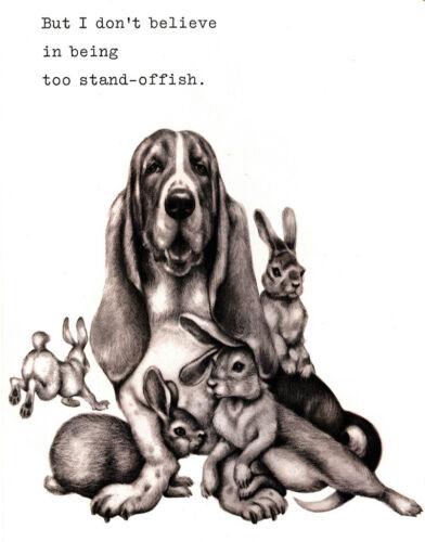 BASSET HOUND CHARMING DOG GREETINGS NOTE CARD CUTE COMIC DOG #6
