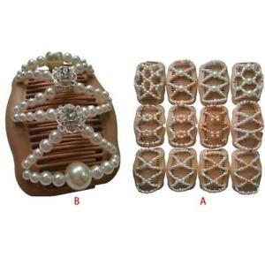Women-Magic-Double-Hair-Comb-Imitation-Wood-Pearl-Clip-DIY-Stretchy-Hairpin-Bead