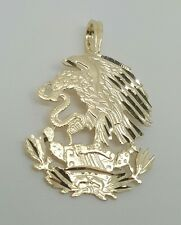 14k Yellow Gold Eagle Hunting Snake Coat of Arms of Mexico Pendant 21MM Men/Lady