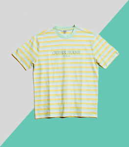c7ef30314dc7 Guess Jeans x ASAP Rocky Green Striped Logo T-Shirt Exclusive Large ...