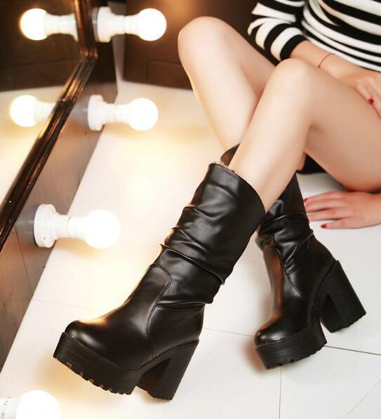 Womens Gothic Round Toe High Chunky Heels Mid Calf Riding Boots Outdoor shoes F5