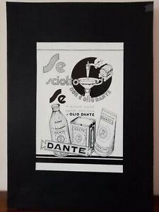 Pubblicità originale Dante anni '30 rifilatura da rivista in passepartout