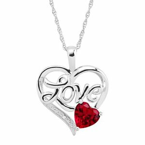 1 5/8 ct Created Ruby Love Heart Pendant with Diamond in Sterling Silver