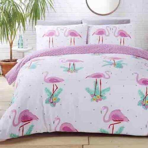 Flamingo Theme Reversible Aqua Pink White Single Duvet Set
