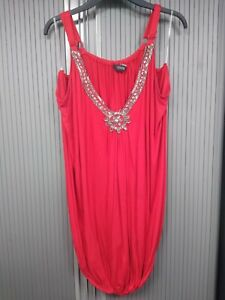 Embellished-Red-Camisole-Top-with-Elasticated-Bottom-Size-20-Yours