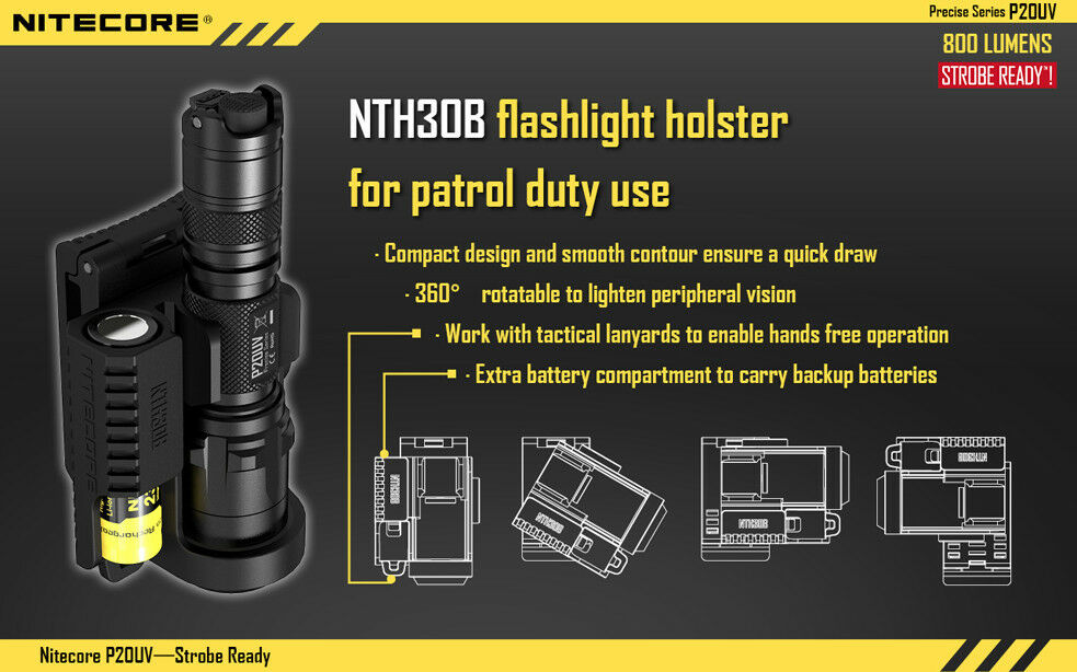 Nitecore P20UV Strobe Ready LED Flashlight - 800 Lumens w  NTH30B Holster