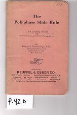 K&E Polyphase Slide Rule Manual, sliderule, VG cond, (P420)