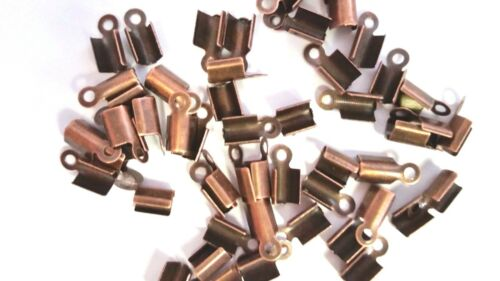100 x Red Bronze Folding Crimps Connectors A6539