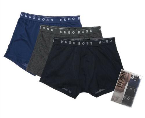 3-Pack Authentique Hugo Boss Homme Pur Coton Boxers Bleu Marine//Gris//Bleu