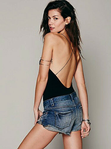 NEW Free People Intimately Low Back Seamless Romper Black Sz XS//S-M//L $54.11