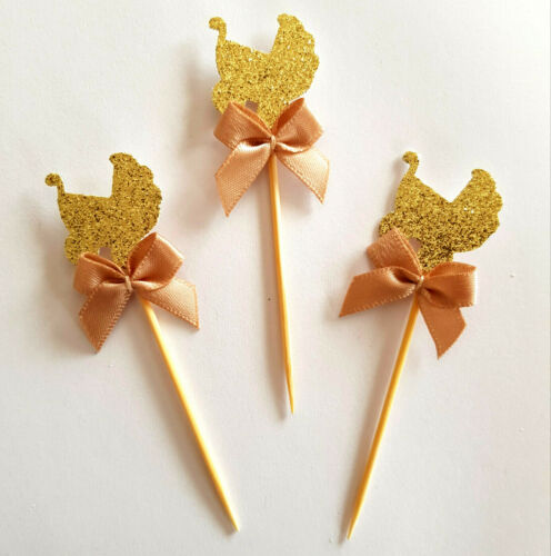 Baby Shower 12 Gold Glitter Carriage Cupcake Topper Picks w Tan RibbonsParty
