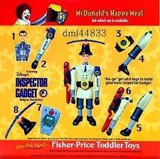 1999 McDonalds Inspector Gadget MIP Complete Set - Lot 8, Boys & Girls, 3+