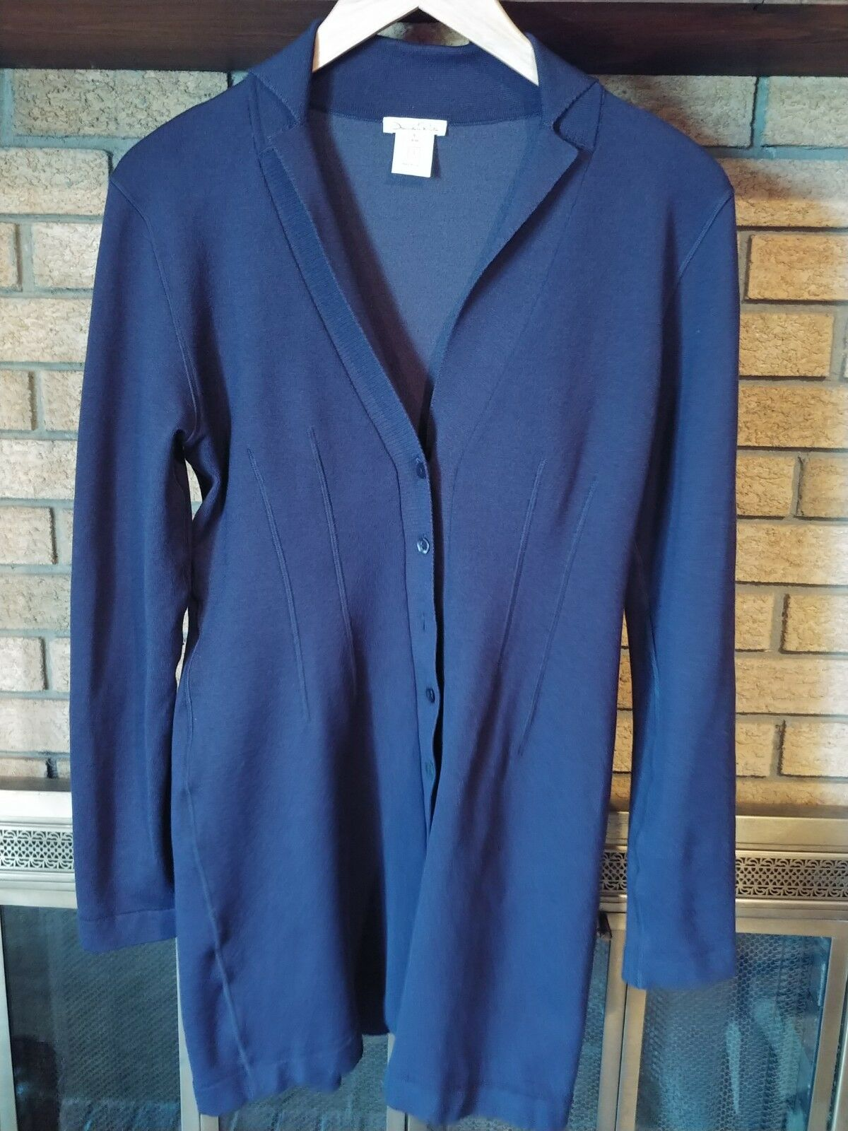 OSCAR DE LA RENTA Navy Silk Taste Up Lange Cardigan Sweater Größe Klein