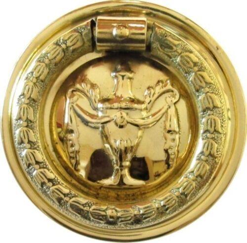 "Hepplewhite//Sheraton Style Stamped Brass /""Urn/"" Round SINGLE POST RING PULL"