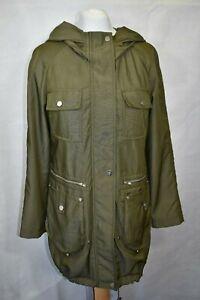 Clements-Ribeiro-Khaki-Lightweight-Hooded-Coat-size-S