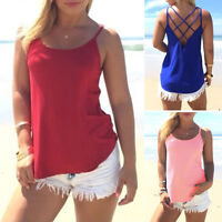 New Womens Plain Vest Strappy Backcross Sleeveless Ladies Swing Vest Top Red