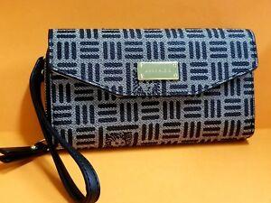 NWT-ANNE-KLEIN-BLACK-Zip-Around-Wristlet-convertible-to-Wallet-Phone-Bag