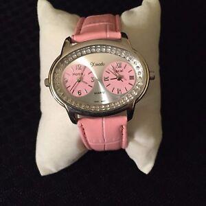Xanadu-Crystal-Dual-2-Zone-Watch-Pink-Leather-Band-New