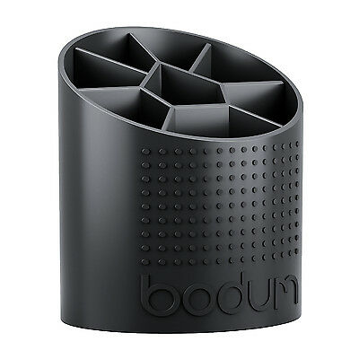Bodum Bistro Black Kitchen Utensil Holder Jar Storage Removable Divider Plastic