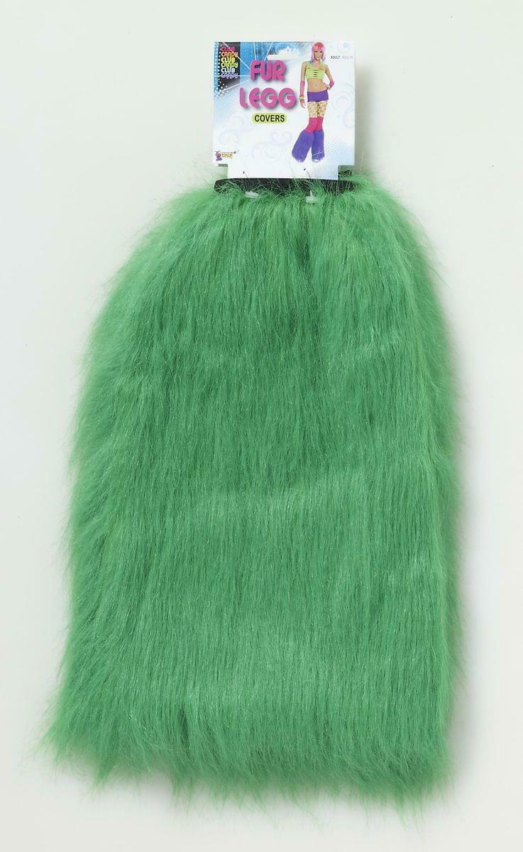 Club Candy Costume Faux Fur Leg Covers Adult: Green One Size
