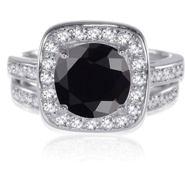 Genuine Sterling Silver Round Cut Black Onyx CZ Wedding Engagement Ring Set