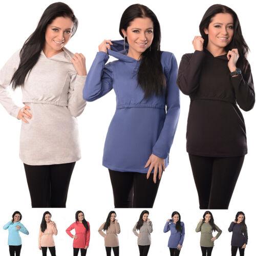New Discreet Soft Nursing Breastfeeding Hoodie Top Size 8 10 12 14 16 18-9051