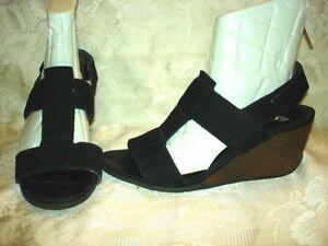 Womens-CAMPER-Black-Wedge-Leather-Sandals-Size-38-EUR