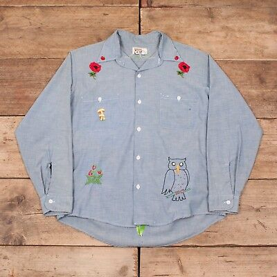 Bello Da Donna Vintage Montgomery Ward 1970 S Chambray Ricamato Camicia 10-12 Xr 8593- Perfetto Nella Lavorazione