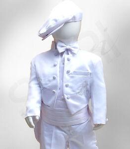 Bebes-Garcons-6-PIECES-Blanc-Bapteme-Tenue-Costume-De-avec-Cross