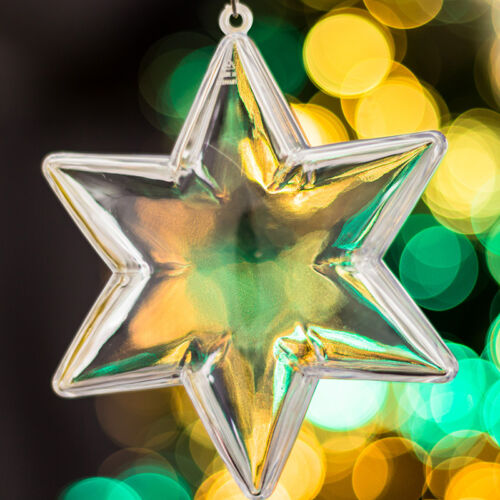 12x Transparent Christmas Tree Star Decoration Ornaments gift clear baubles