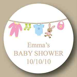 Image Is Loading 32 50mm Personalised Round Baby Shower Stickers Labels