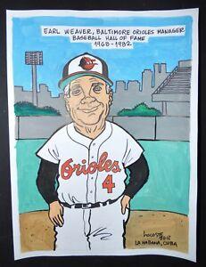 Original-Cuban-Drawing-EARL-WEAVER-Baseball-Hall-of-Fame-BALTIMORE-ORIOLES-Cuba