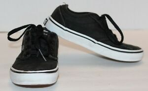 868bdded2e VANS Off The Wall Youth Black Canvas Lace Up Skate Shoes TB4R Size 2 ...