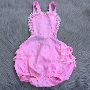 b3fcbe75b7b Details about Vintage Pink Ruffle Bum Toddler Girls Sunsuit Romper Playsuit  White Lace Trim