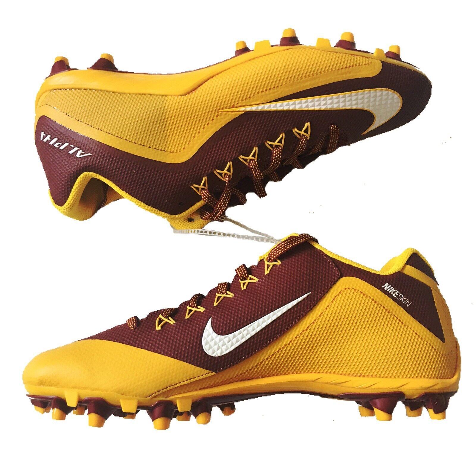 Nike Alpha Pro 2 II Low TD Strike Sz 13 Football Cleats shoes Maroon gold White