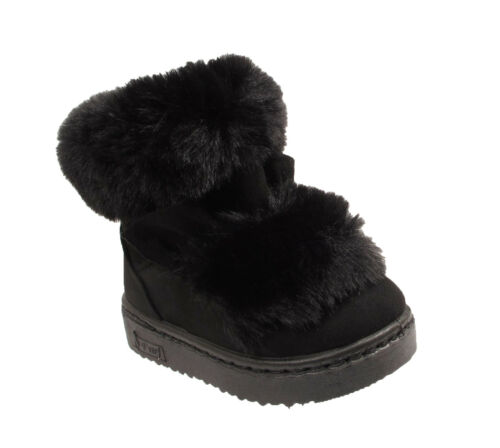 KIDS GIRLS WINTER WARM FAUX FUR LINED BOW CHILDREN ANKLE GRIP SOLE SNOW BOOTS SZ