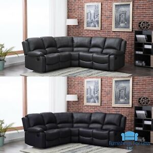 Details about *** BRAND NEW*** Modern Grey or Black Leather Corner Full  Recliner Sofa Cheap