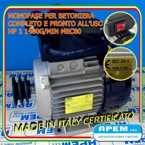 MOTORE MONOFASE ITALIANO 1 HP-0,75 KW 1400g//m PULEGGIA//INTERR//SPINA X BETONIERA!