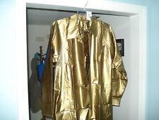 New 100% Shiny Gold Pvc/Vinyl SZ Sm Raincoat Trench Coat Slicker LTD Edition.