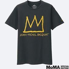 JEAN-MICHEL BASQUIAT x UNIQLO 'Crown' Graphic Artist T-Shirt Men's M Dk Gray NEW