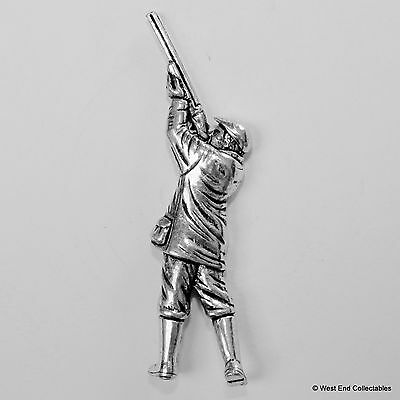 Shotgun Hunter Pewter Pin Brooch - British Hand Crafted - Shooting Hunting Bird