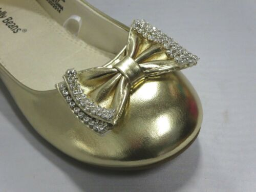 Girl Flats w// Rhinestone Bow Yoyo Kid Flower Girl Pageant Gold Silver