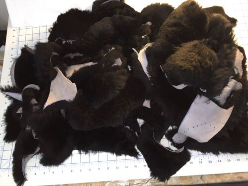 2 lbs Black Real Sheepskin Craft pieces Costumes Wool /& Leather lambskin hide